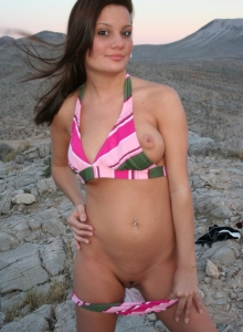 Busty Teen Katie Flashes Her Tits And Ass Outdoors While Wearing A Cute Bikini - Picture 12